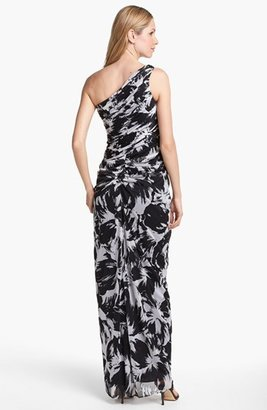 Adrianna Papell One Shoulder Print Chiffon Gown