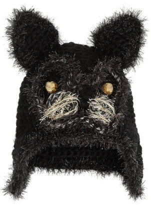 Anna Sui Embellished crochet-knit cat hat