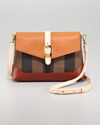 Fendi Leather Flap-Top Canvas Crossbody Bag