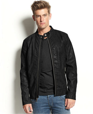 GUESS Coat, Garment Washed Faux Leather Moto Jacket