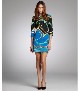 Julie Brown JB by blue and black positano print jersey ' Maggie' shift dress