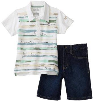 Kenneth Cole Boys 2-7 Kc Two Piece 2-4 Short Sleeve Stripe Polo Shirt