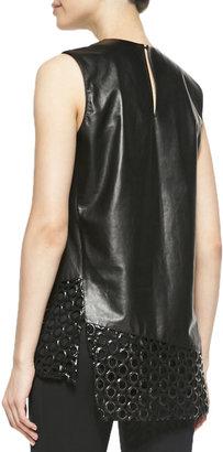 Reed Krakoff Sleeveless Circle-Cutout Leather Top