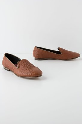 Anthropologie Tooled Leather Loafers