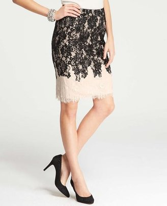 Ann Taylor Chantilly Lace Colorblock Skirt