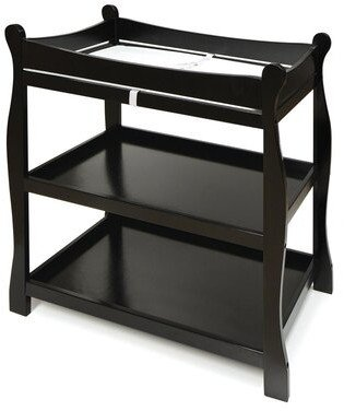 Badger Basket Sleigh Style Baby Changing Table with Pad Color: Black
