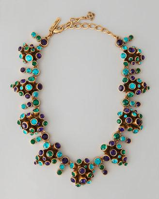 Oscar de la Renta Clustered Crystal Necklace, Mulberry