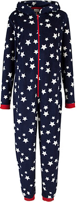 John Lewis Star Print Onesie and Hot Water Bottle Cover, Blue/White