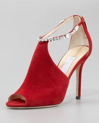 Jimmy Choo Farah Crystal-Trim Suede Sandal, Red