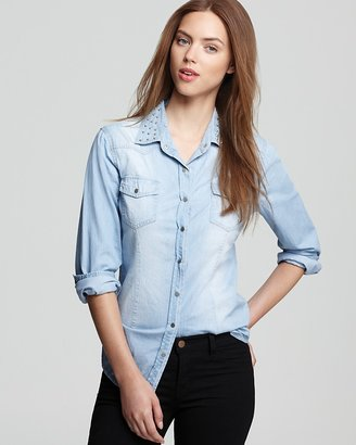 Aqua Shirt - Chambray Stud Collar