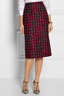 Oscar de la Renta Checked tweed pencil skirt