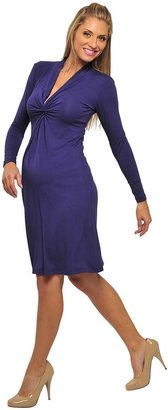 Olian Long Sleeve Front Gather Dress - Purple-Purple-Large