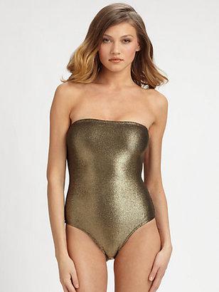 Marie France Van Damme One-Piece Metallic Bustier Swimsuit