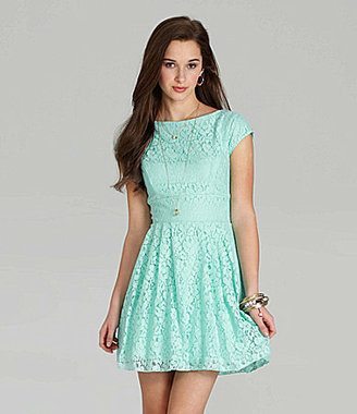B. Darlin Cap-Sleeve Lace Dress