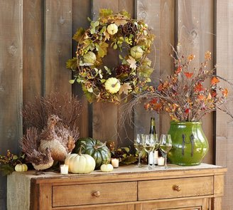 Pottery Barn Faux Harvest Green Pumpkins