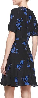 Shoshanna Floral-Print Half-Sleeve Silk Dress