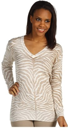 MICHAEL Michael Kors Zebra Inside Out L/S Sweater (Khaki) - Apparel