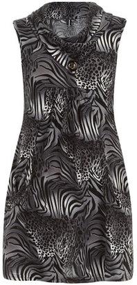 Dorothy Perkins Dark grey animal print top