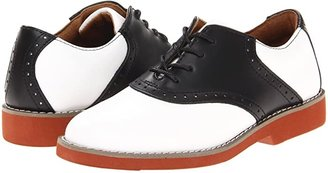 School Issue Upper Class (Toddler/Little Kid/Big Kid) (White/Black Leather) Girl's Shoes