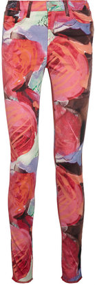 Christopher Kane + J Brand printed mid-rise skinny jeans