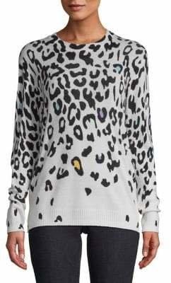 Autumn Cashmere Leopard-Print Cashmere Top