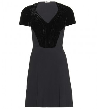 Miu Miu Velvet-panelled crepe dress