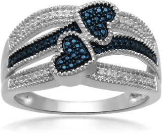 FINE JEWELRY 1/10 CT. T.W. White and Color-Enhanced Blue Diamond Double-Heart Ring $124.98 thestylecure.com