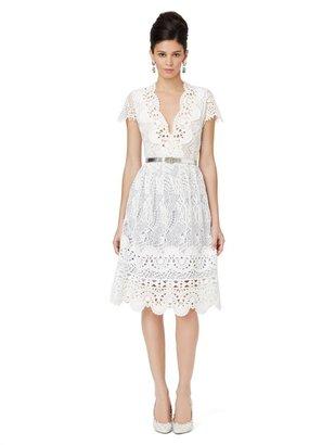 Oscar de la Renta Sleeveless V-Neck Dress With Full Skirt