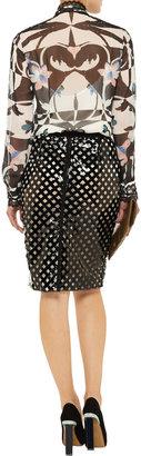 Oscar de la Renta Lace-embellished floral-print silk-chiffon blouse