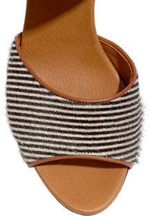 Madewell The Lace-Up Sandal in Striped Calf Hair