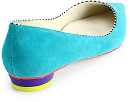 Webster Sophia Loca Suede Pipe-Trimmed Ballet Flats