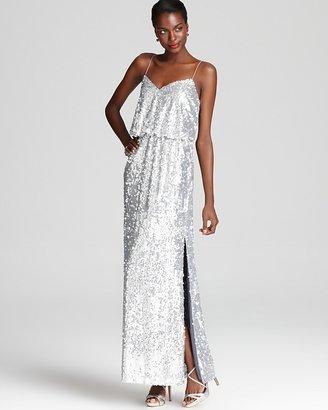 Aqua Long Dress - Spaghetti Strap Sequin Blouson