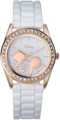 Disney Mickey Mouse Rose-Tone White Strap Watch