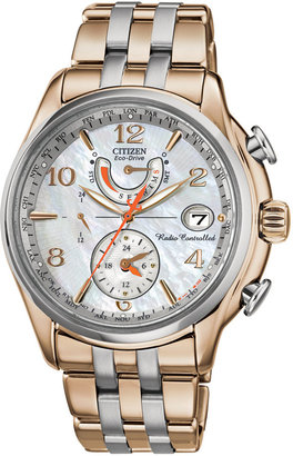 Citizen Women's Eco-Drive World Time A-T Two-Tone Stainless Steel Bracelet Watch 41mm FC0006-52D