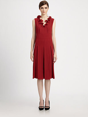 Marc Jacobs Pleated Ruffle Neck Dress