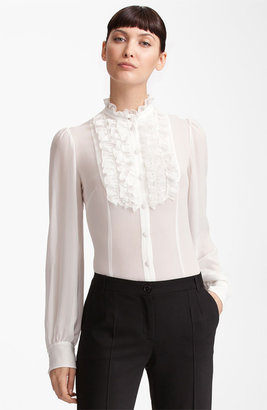 Dolce & Gabbana Ruffle Front Georgette Blouse