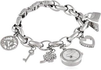 Anne Klein Women's 10-7605CHRM Swarovski Crystal Silver-Tone Charm Bracelet Watch