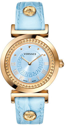 Versace 'Vanity' Leather Strap Watch, 35mm