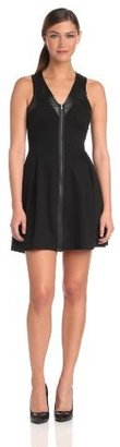 Madison Marcus Women's Fit and Flare Dress with Leather Detailing