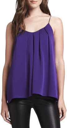 Milly Pleated Sleeveless Silk Top
