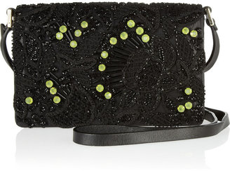 Valentino Embroidered leather mini shoulder bag