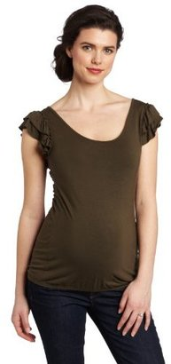 Ripe Maternity Women's Ruffle Shoulder Tee