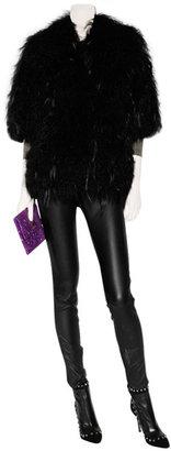 Ermanno Scervino Black 3/4 Sleeve Fur Jacket