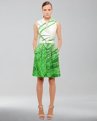 Akris Reed-Print Cotton-Stretch Dress, Grass