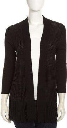 Neiman Marcus Ribbed Open Front Cardigan, Black
