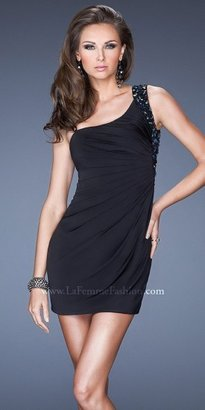 La Femme Radial Embellished Strap Mini Cocktail Dresses