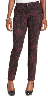 Style&Co. Jeans, Curvy-Fit Skinny, Camo Feather Print