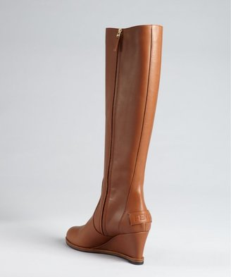 Fendi Whiskey Leather Mini Wedge Tall Boots