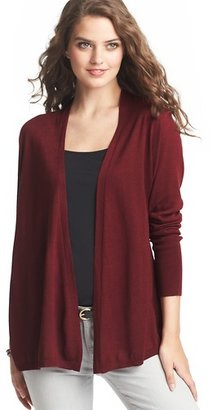 LOFT Ribbed Back Yoke Open Cardigan