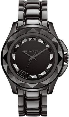 Karl Lagerfeld Unisex Gunmetal Ion-Plated Stainless Steel Bracelet Watch 44mm KL1003
